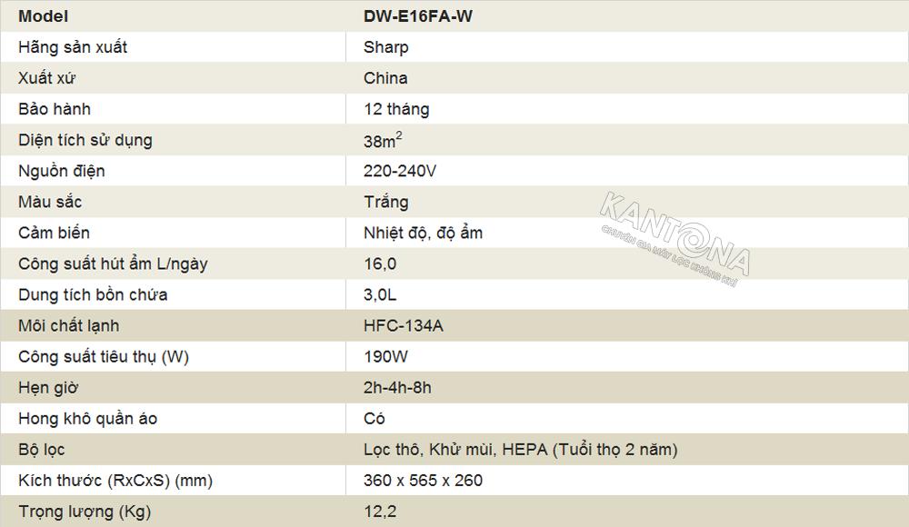 thong so ky thuat may loc khong khi va hut am sharp dw e16fa w - Máy lọc không khí và hút ẩm Sharp DW-E16FA-W